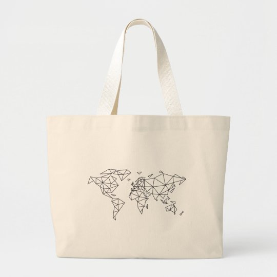 Geometric world map large tote bag