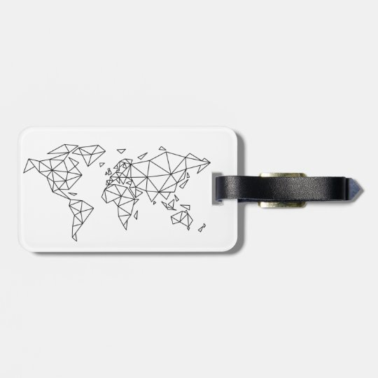 Geometric world map luggage tag