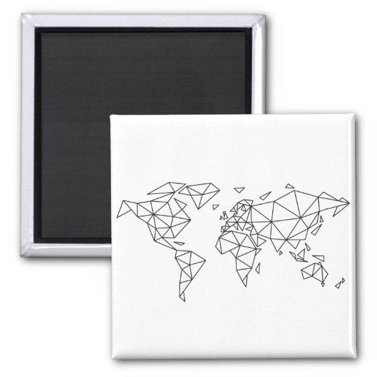 Geometric world map magnet