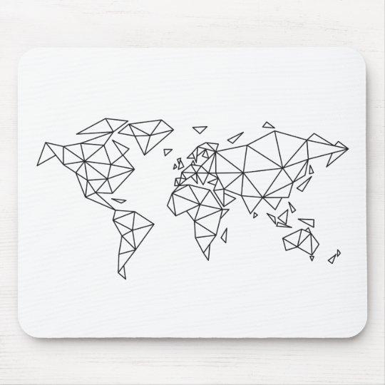Geometric world map mouse pad