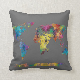 Geometric World Map Pillow