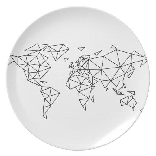 Geometric world map plate