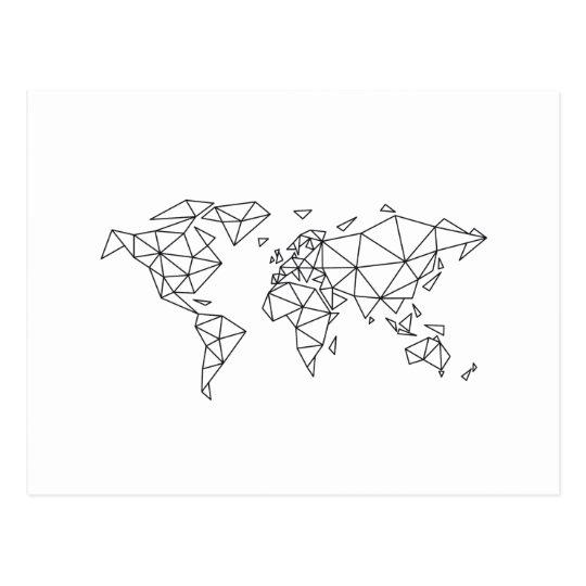 Geometric world map postcard
