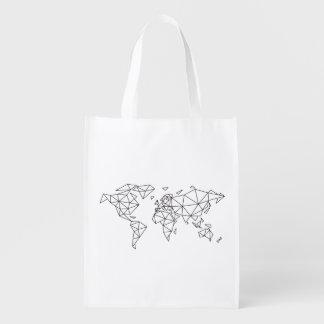 Geometric world map reusable grocery bag