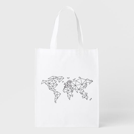 Geometric world map reusable grocery bag