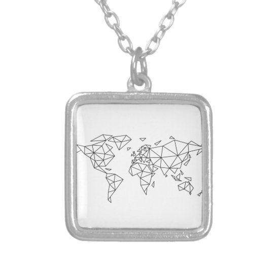 Geometric world map silver plated necklace