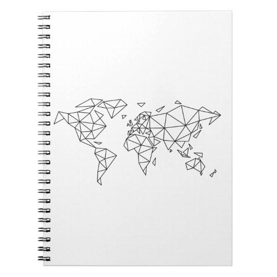 Geometric world map spiral notebook