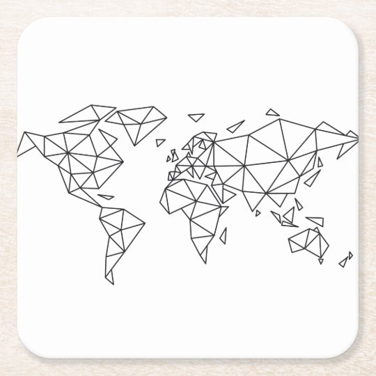 Geometric world map square paper coaster