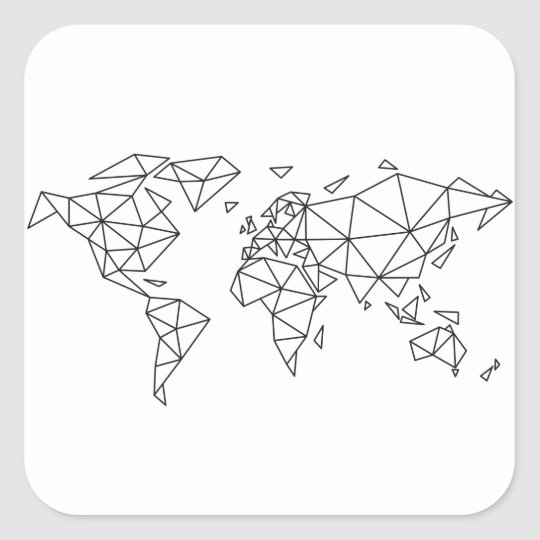 Geometric world map square sticker