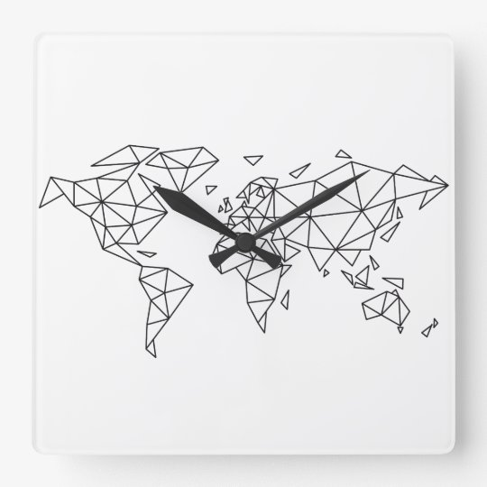 Geometric world map square wall clock