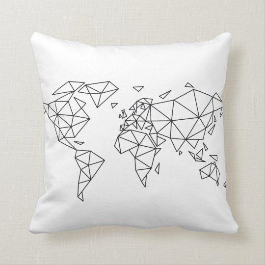 Geometric world map throw pillow