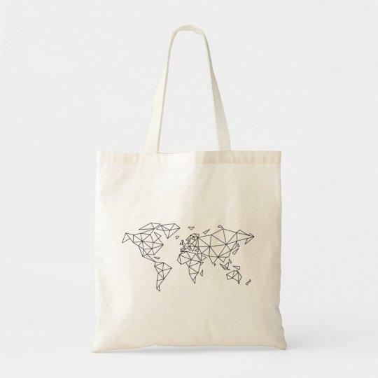 Geometric world map tote bag