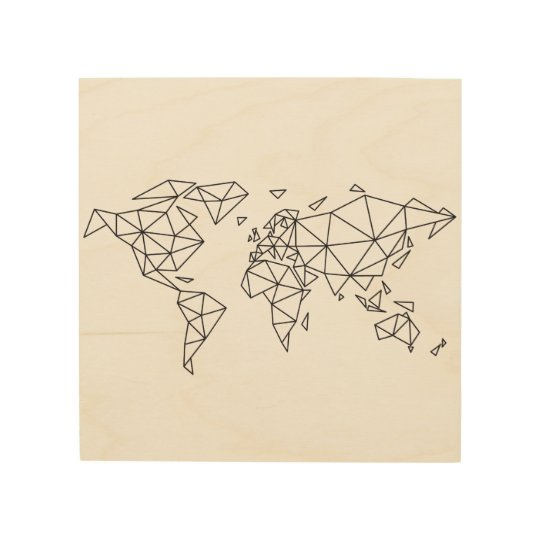 Geometric world map wood print