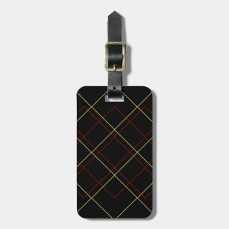 Geometric yellow red lines on black luggage tag
