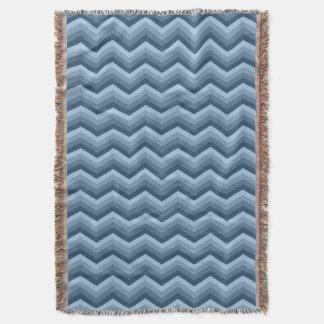 Geometric ZigZag Throw Blanket Shades of Blue
