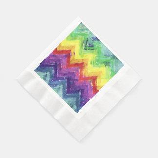 Geometric Zigzag Watercolor Disposable Napkins