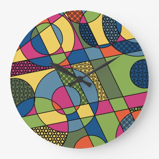 Geometrical Abstract in 2017 Spring Colour Palette Large Clock