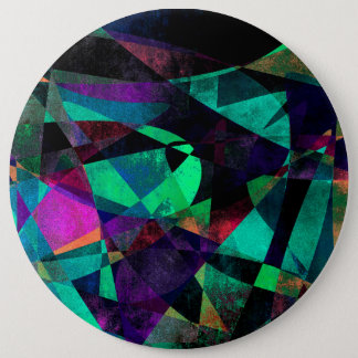 Geometrical, Colorful, Grungy Abstract Art 6 Inch Round Button
