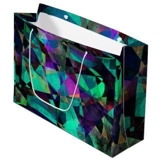 Geometrical, Colorful, Grungy Abstract Art Large Gift Bag