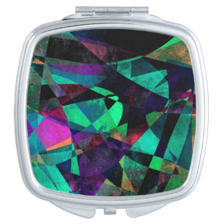 Geometrical, Colorful, Grungy Abstract Art Mirrors For Makeup