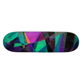 Geometrical, Colorful, Grungy Abstract Art Skate Board