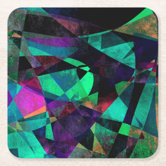 Geometrical, Colorful, Grungy Abstract Art Square Paper Coaster