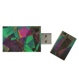 Geometrical, Colorful, Textured Abstract Art Wood USB Flash Drive