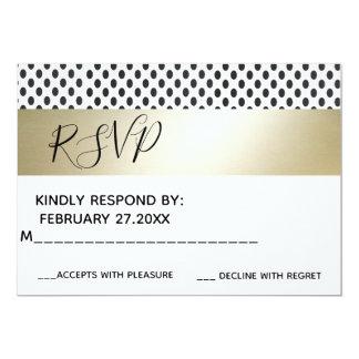 Geometrical dots luxury gold /white wedding RSPV Card