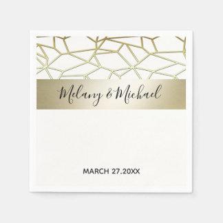 Geometrical luxury  modern gold /white wedding paper napkin