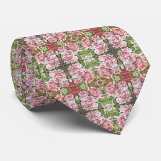Geometrical pattern Vintage Pink Rose tie green