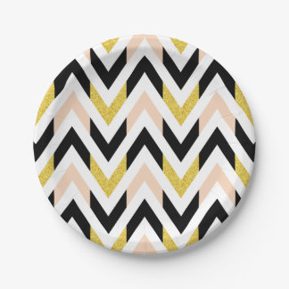 Geometrical Peachy Pink, Gold, Black Pattern 7 Inch Paper Plate