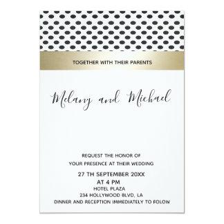 Geometrical polka dots luxury gold black/white card