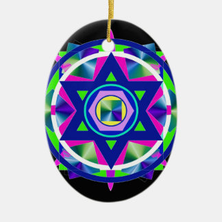 Geometrical Stained Glass Star of David. Ceramic Oval Ornament