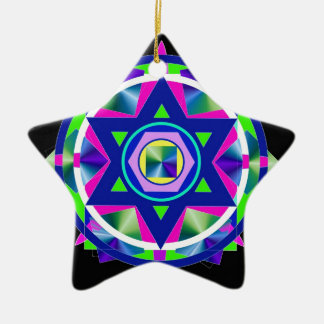 Geometrical Stained Glass Star of David. Ceramic Star Ornament