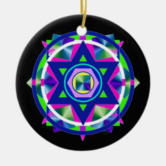 Geometrical Stained Glass Star of David. Round Ceramic Ornament