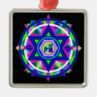 Geometrical Stained Glass Star of David. Silver-Colored Square Ornament