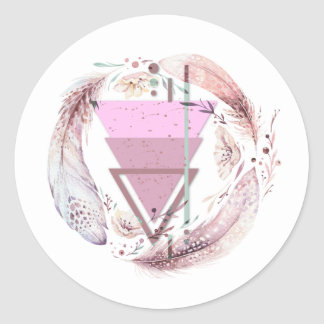 Geometrical With Feathers Classic Round Sticker