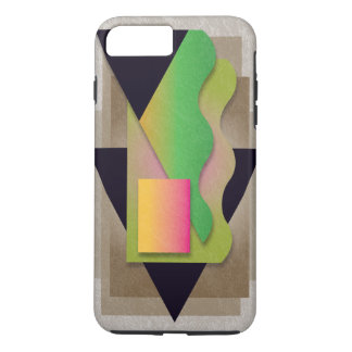 Geometrics on smoky bronze, orange-magenta crest iPhone 8 plus/7 plus case