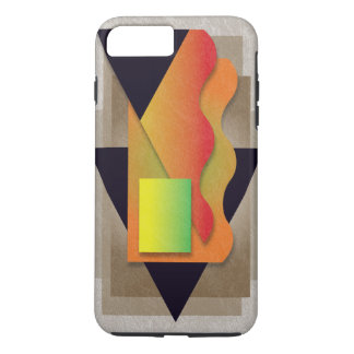 Geometrics on smoky bronze, yellow-green crest iPhone 8 plus/7 plus case
