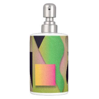 Geometrics on textured bronze, orange/magenta soap dispenser and toothbrush holder