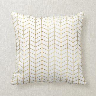 Géométrique blanc de motif de feuille d'or en coussin