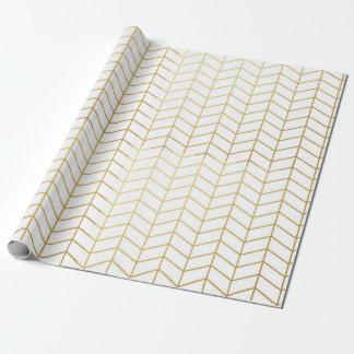 Géométrique blanc de motif de feuille d'or en papier cadeau