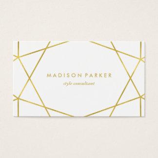Géométrique moderne d'or de Faux sur le blanc Cartes De Visite