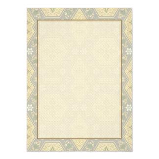 Géométrique vintage jaune et gris mignon invitations personnalisées
