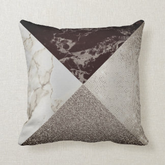 Geometry Caffe Noir  Sparkly Foxier Gold Marble Throw Pillow