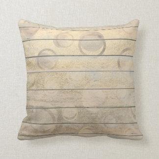 Geometry Circle Cottage Metallic Wood Grungy Pink Throw Pillow