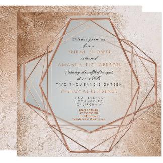 Geometry Cooper Bridal Shower Metallic Lines Card