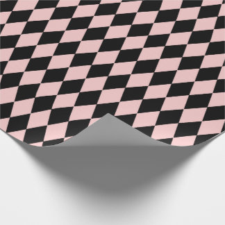 Geometry Diamond Cut  Blush Pink Rose Black Wrapping Paper