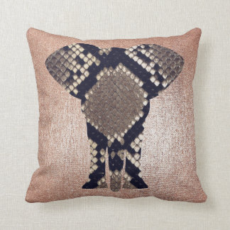 Geometry Gold Blush Pink Black Glitter Elephant Throw Pillow