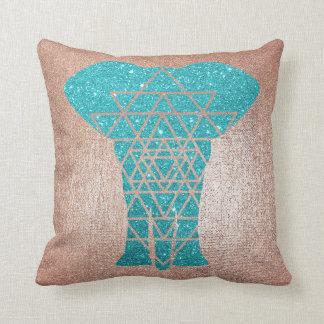 Geometry Gold Blush Pink Teal Glitter Elephant Throw Pillow